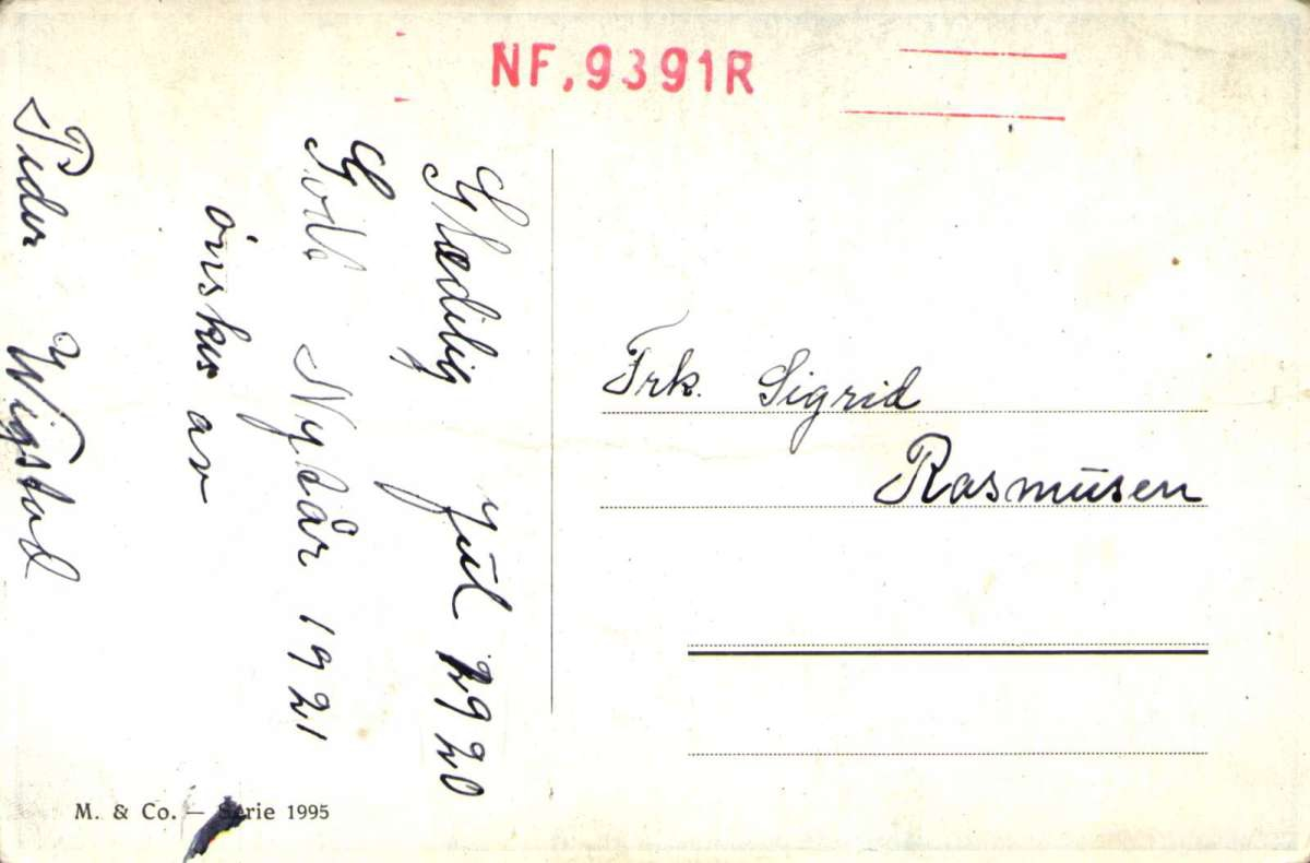 Postkort. Jule- og nyttårshilsen. Interiør. Bord med frukt og nek. Fugler utenfor vindu. Påskrevet 1920.