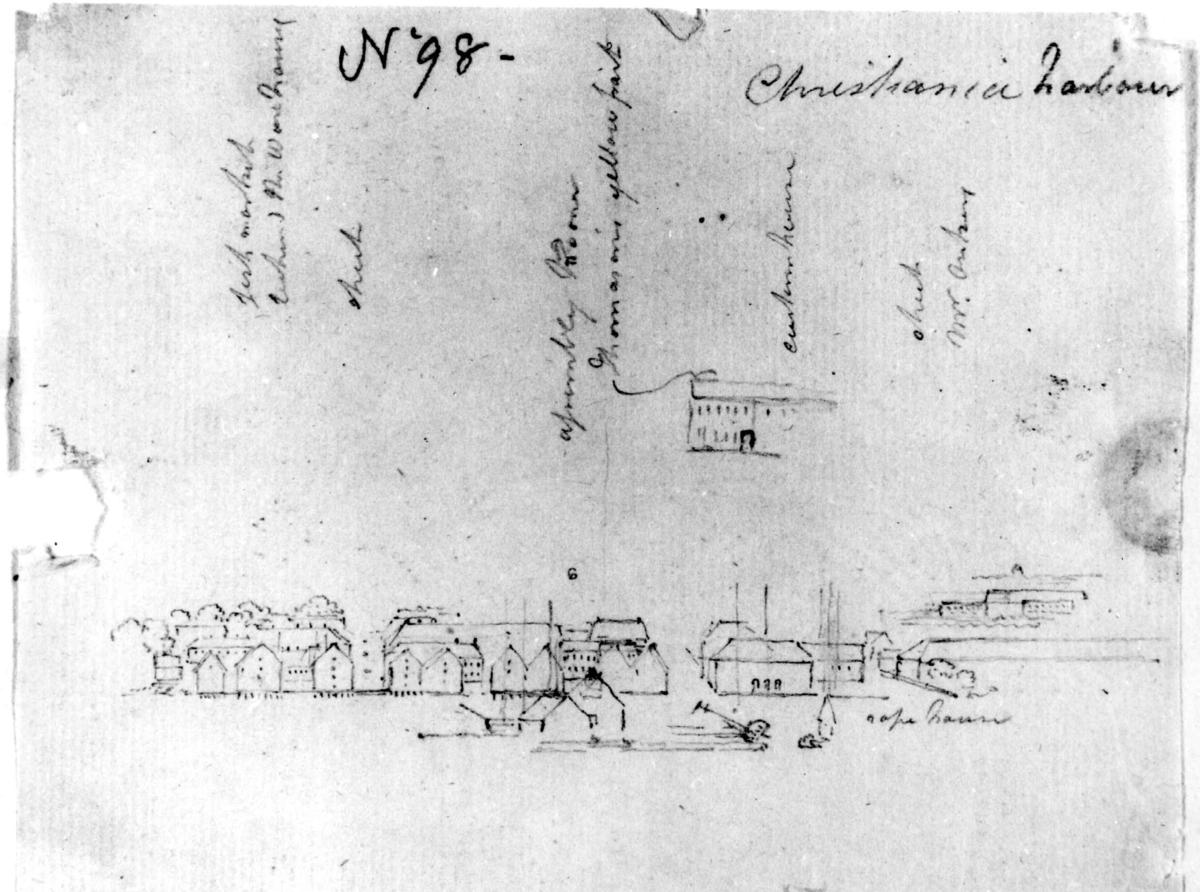 """Oslo. Christiania. Havnen. Blyantskisse av John Edy: Drawings, Norway, 1800. """"Harbour Christiania."""" Skissealbum utlånt av Deichmanske bibliotek."""