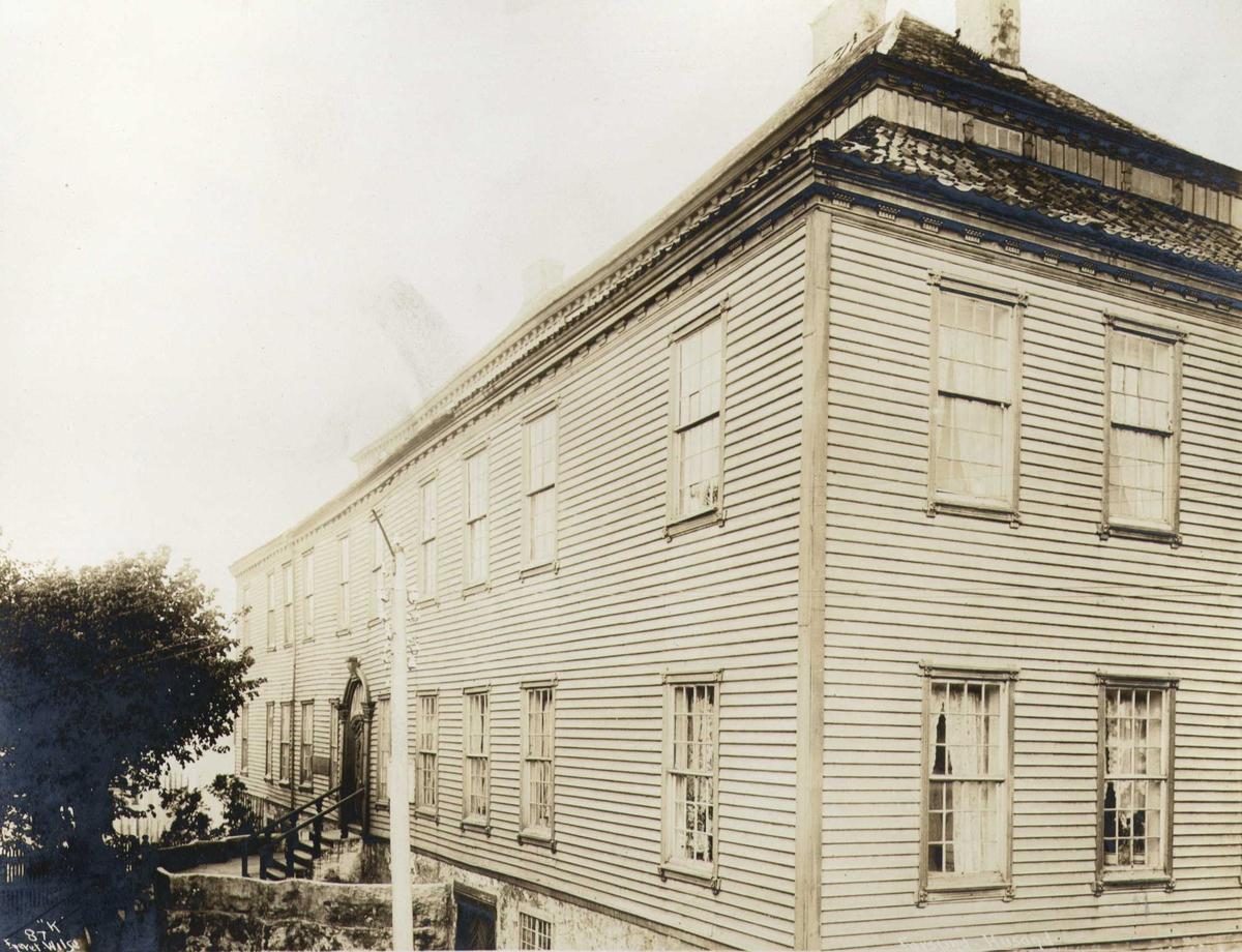 Hovedbygning, Husan, Farsund, Vest-Agder. Husan benyttes nå som rådhus. Fotografert 1912.