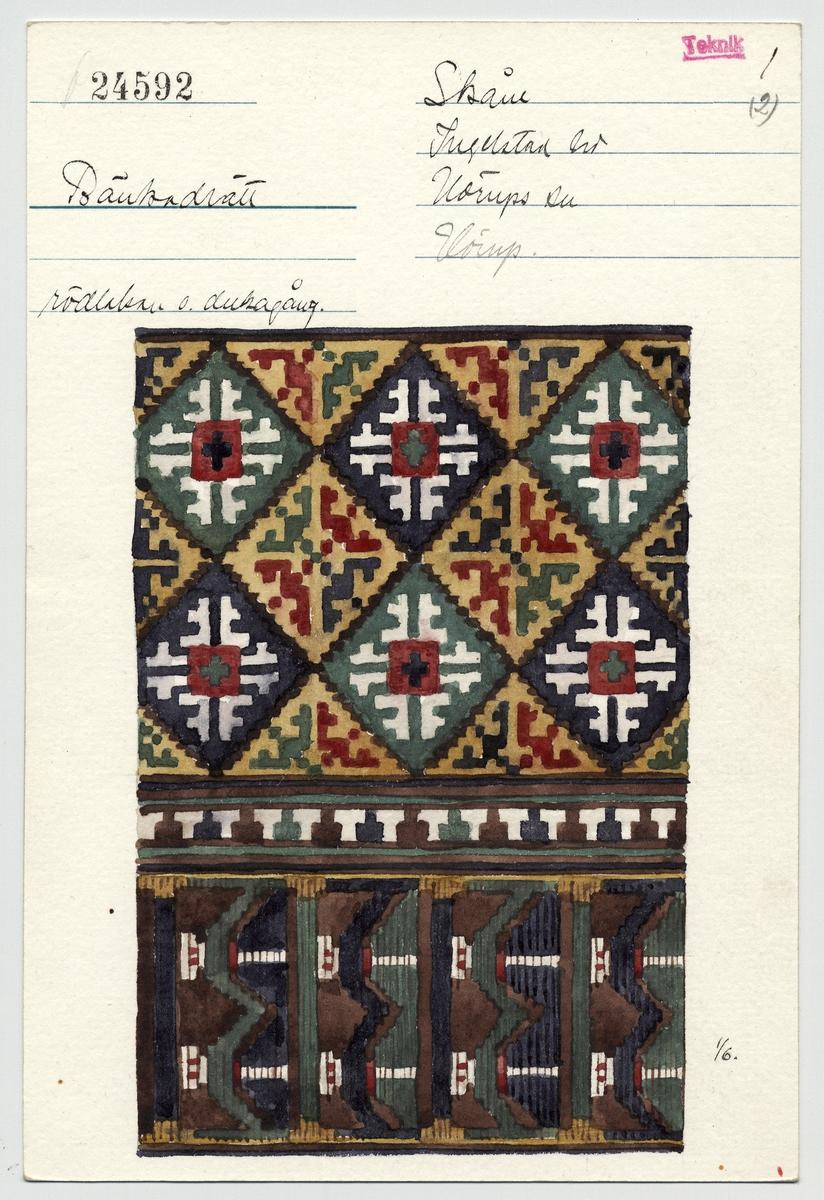 Katalogiseringskort, så kallad kataloglapp, från Nordiska museet. Föremål inv.nr 24592, bänkadrätt från Skåne. Akvarell av Emelie von Walterstorff.