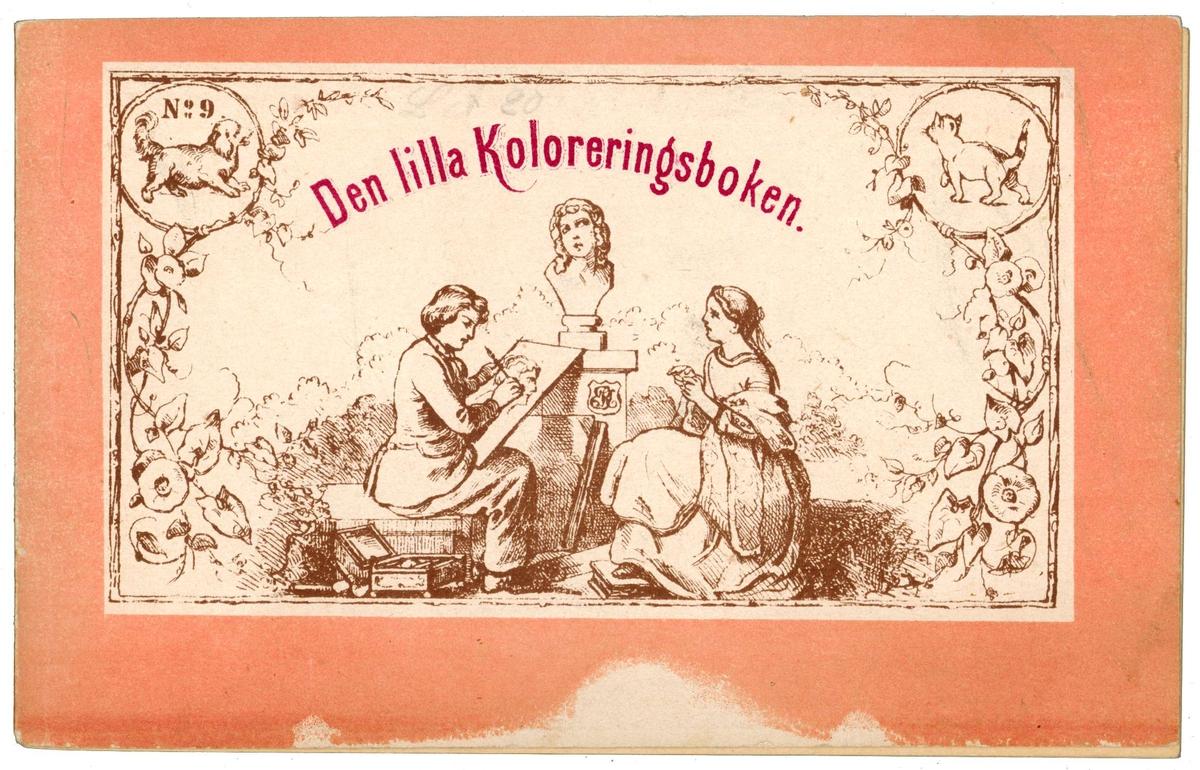 Tre målarböcker, två tyska och en svensk.