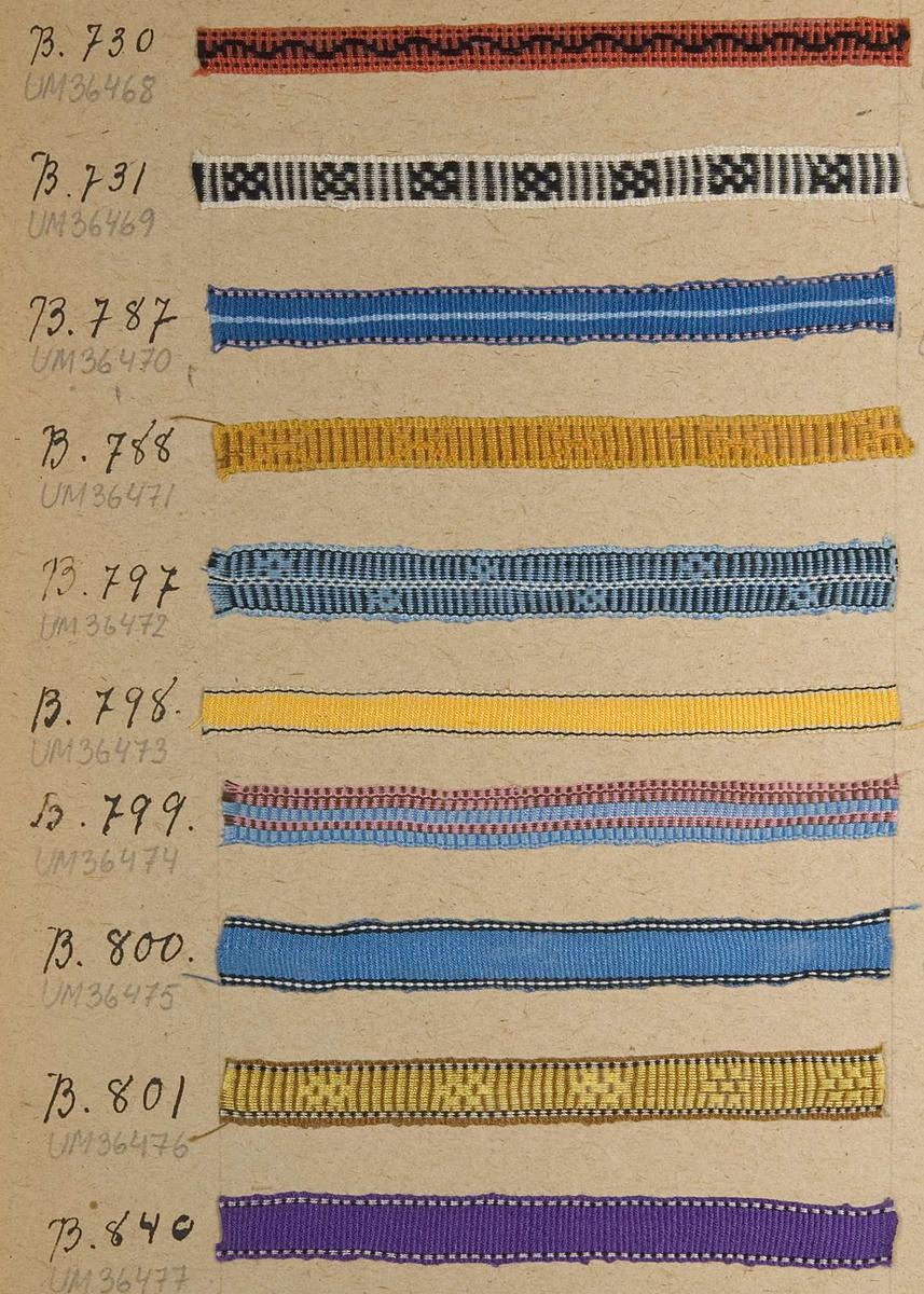 Vävprov av gult band med smala svarta och vita ränder i kanterna. Materialet är konstfiber eller merceriserad bomull. Bandet är vävt i rips och har nummer B.798.