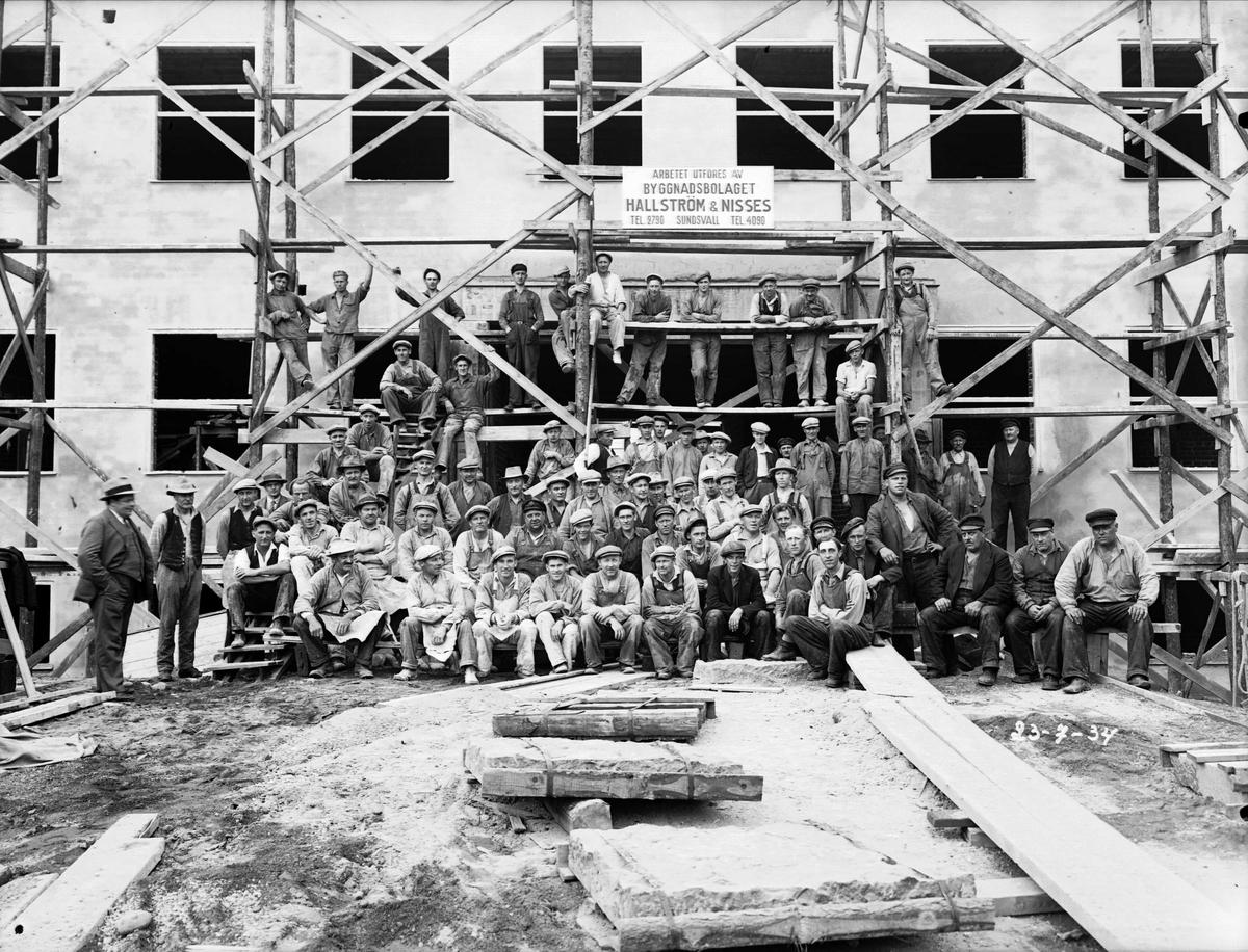 Grupporträtt - byggnadsarbetare, sannolikt Uppsala, 1934