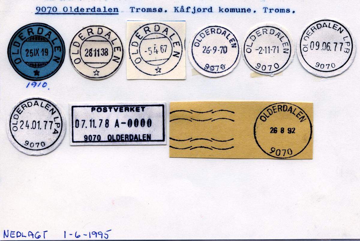 Stempelkatalog  9070 Olderdalen, Kåfjord kommune, Troms
