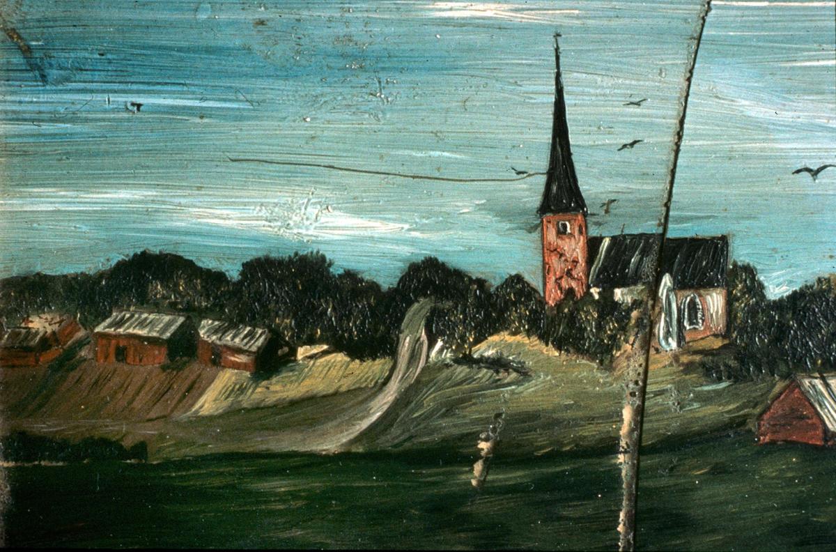 Glasmålning föreställande Vaksala kyrka, Uppsala