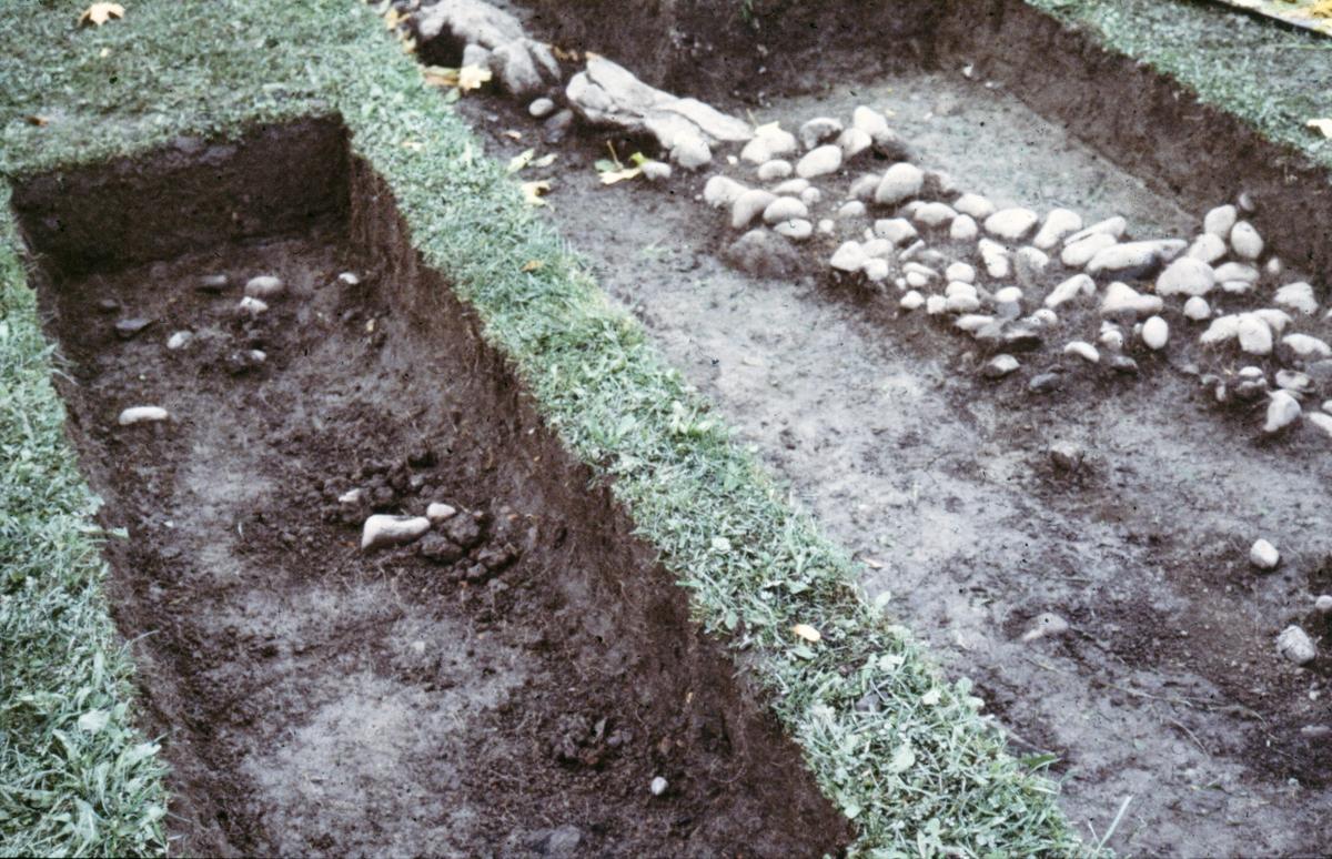Kungsgårdsplatån, stensträng - Arkeologi Gamla Uppsala 1988