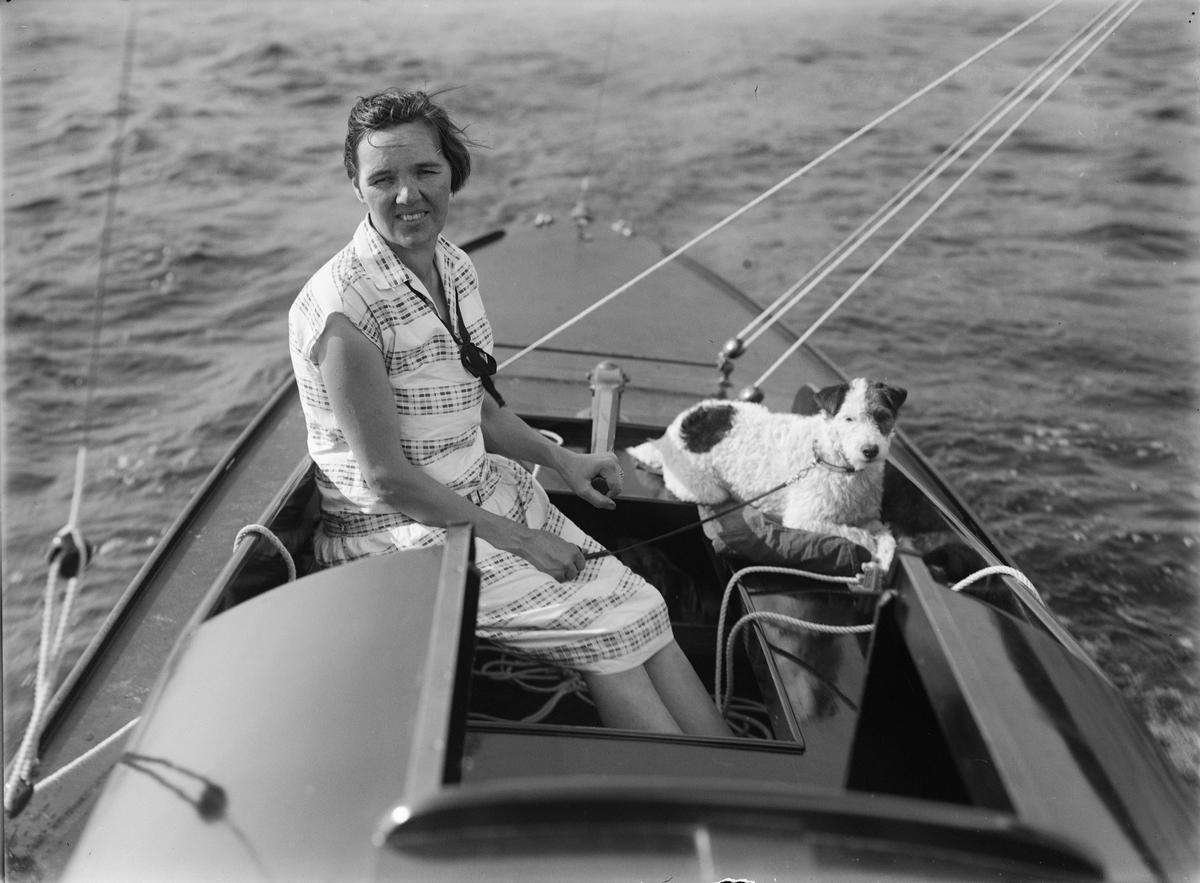 Kvinna och hund i segelbåt, sannolikt på Ekoln, Uppland