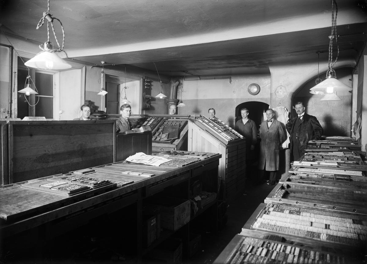 Upsala Nya Tidnings sätteri i Oxenstiernska huset vid Riddartorget, Uppsala före 1928