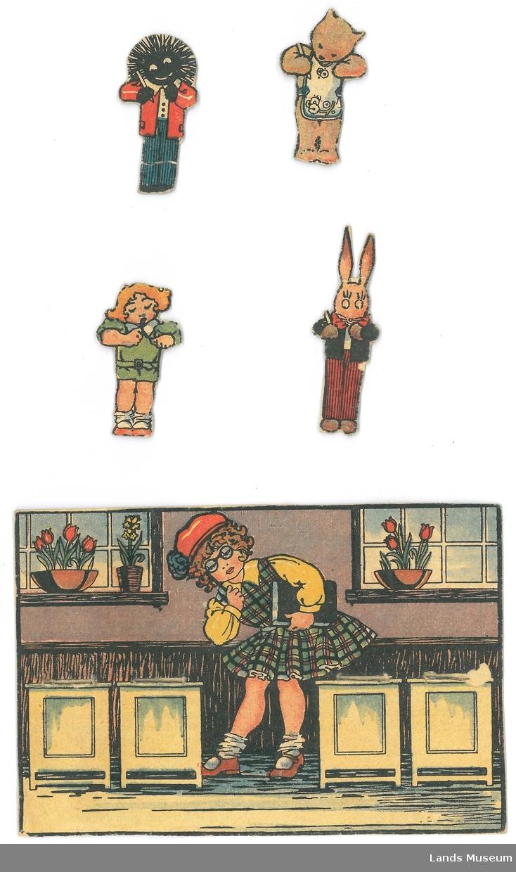 Jente som leiker skole med dukke og lekedyr.