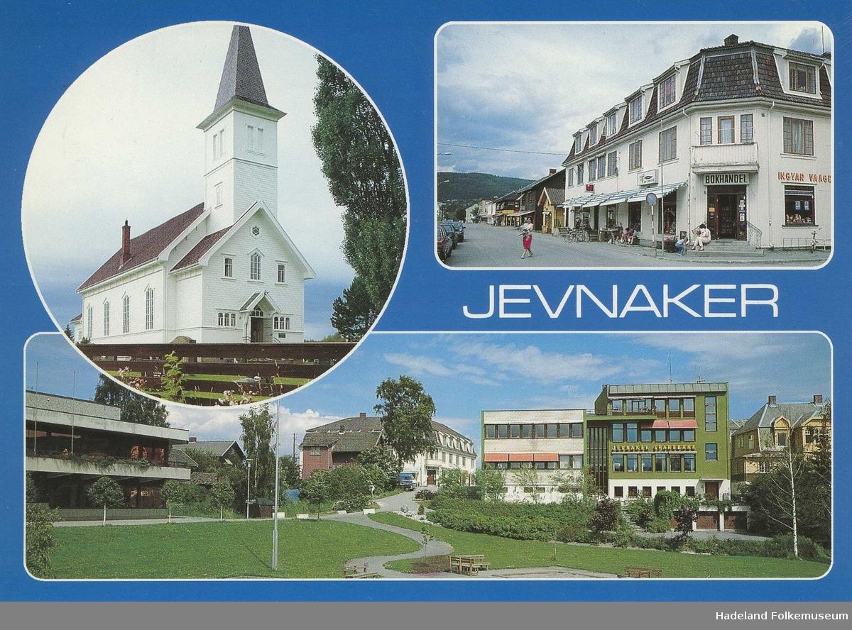 Prospektkort med tre fotografier med motiv fra Jevnaker sentrum. Randsfjord kirke / Randsfjord kapell, Jevnaker samfunnshus og gateparti på Nesbakken.