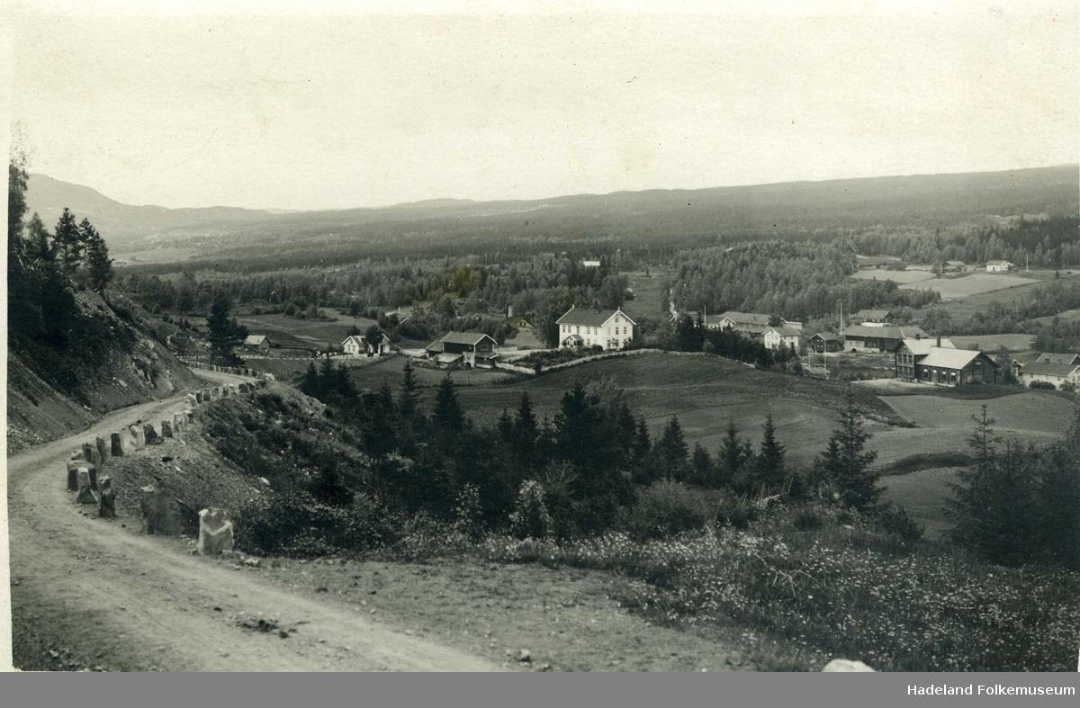 Røysumlinna med kabbesteiner, midt i bildet er Fagerlund skole og til høyre Ungdomshuset Folkvang