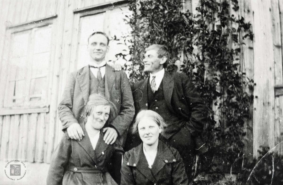Fire blide ungdommer fra Grindheim. Audnedal.