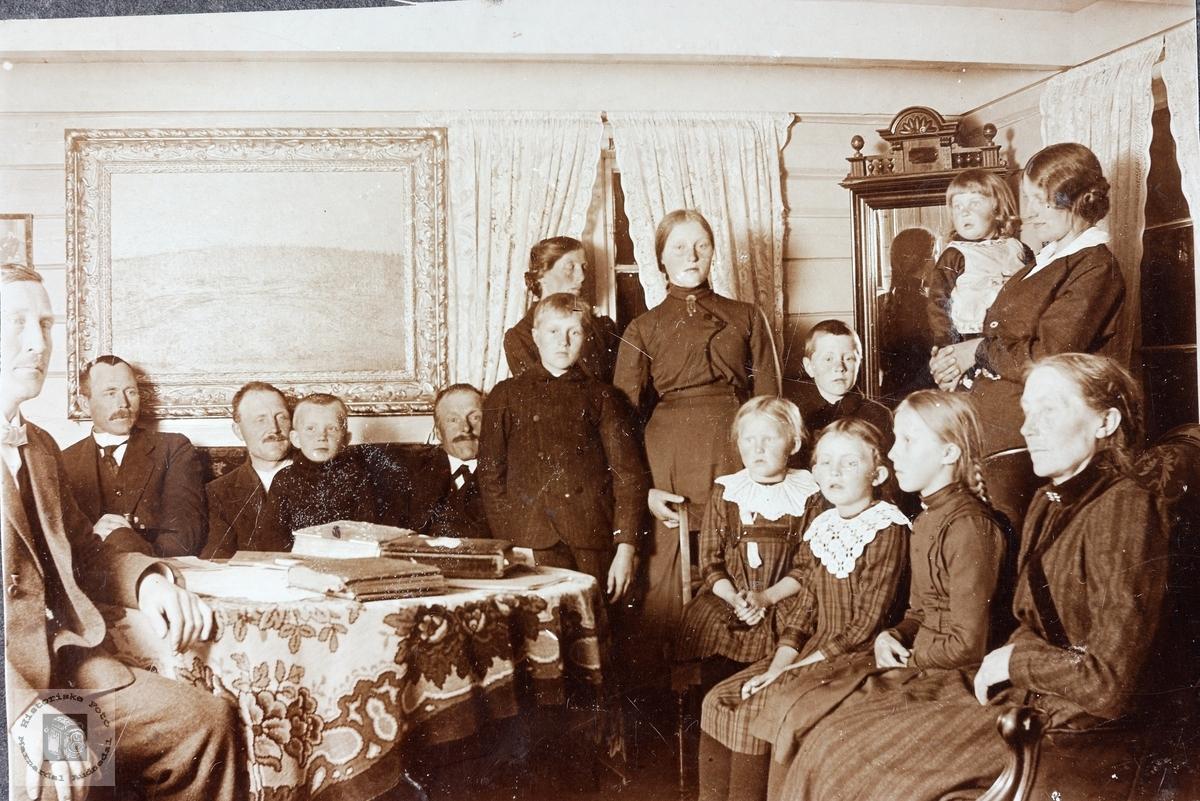 Familiesamlng i stova med flere generasjoner fra Grindheim, Laudal og Bjelland.