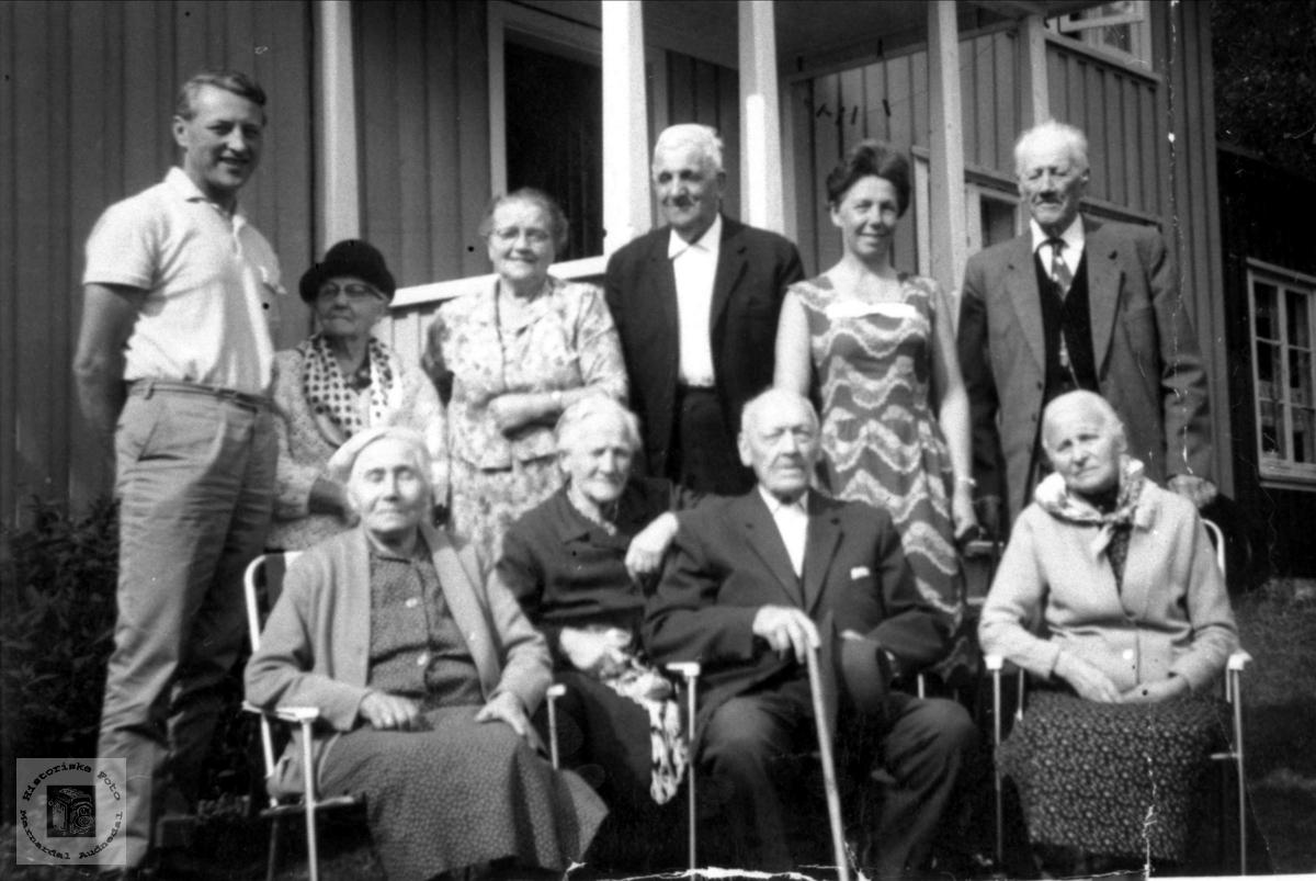 """Personer avbildet på """"Homvollen"""" Haugland, Bjelland."""