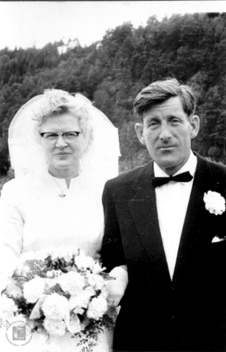 Brudeparet Randi og Jens Rustad, Laudal.