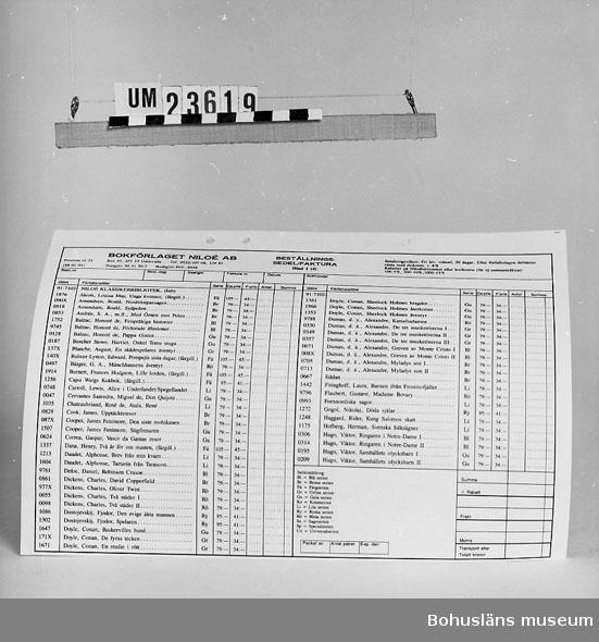 594 Landskap BOHUSLÄN 394 Landskap BOHUSLÄN  Förteckning över boktitlar i Bokförlaget Niloés lager, priser o dyl. Se förvärvsuppgifter under UM23603. Neg.nr. UM146:3.