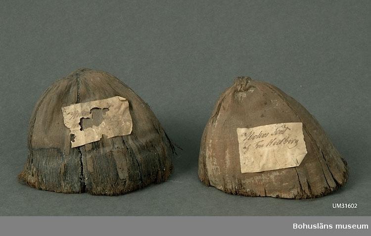 """Itusågad kokosnöt; i två ungefär lika stora delar. Frukt från kokospalmen, Cocos nucifera. Föremålet består av det yttre fiberskiktet med ett inre hårt skal. Snittet är mycket skickligt gjort.  Påklistrad pappersetikett med text: Kokos Nöt af Fru Hedberg. Etikett på båda delarna, men en av dem är mycket skadad. Samma del är lite kortare, ca 11 cm.  I tryckt redogörelse för verksamheten för """"Museum för Bohus Län 1861"""" står under alfabetisk förteckning över föreningens medlemmars bidrag och gåvor: Hedberg, J., Fru, Uddevalla: 2 fossila tänder, 2 hval-fenor, 2 pingvin-skinn, 2 koraller, en kokosnöt, en ödla, en skorpion, mynt m.m."""