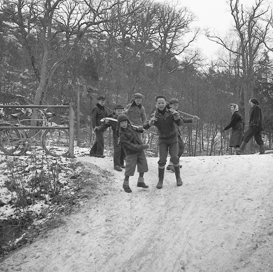 """Enligt notering:""""Skridskoåkare Gustavsberg 2/1 1955""""."""