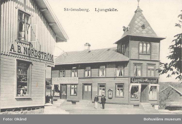 """Tryckt text på kortet: """"Strömsborg. Ljungskile"""". """"Förlag: Ljungskile Bok & Pappershandel""""."""