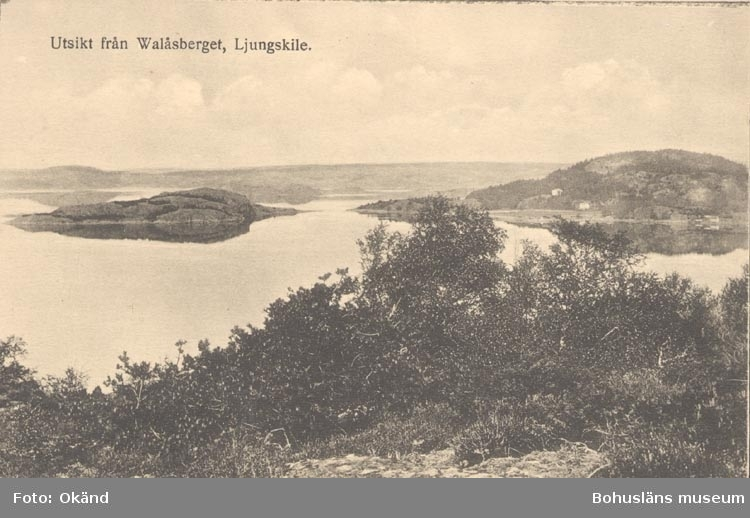 """Tryckt text på kortet: """"Utsikt från Walåsberget, Ljungskile"""". """"Förlag: Ljungskile Bok & Pappershandel""""."""