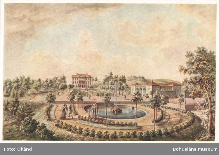 """Tryckt text på kortet: """"Gunnebo från söder"""". """"Akvarell av J.F. Weinberg 1795."""""""