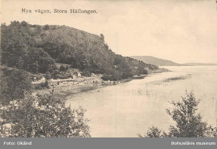 """Tryckt text på kortet: """"Nya vägen, Stora Hällungen."""""""