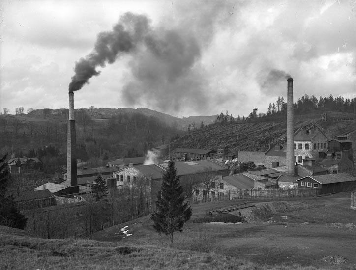 "Enligt fotografens noteringar: ""Munkedals fabrik omkring år 1910-1914 från Stale hållet."""