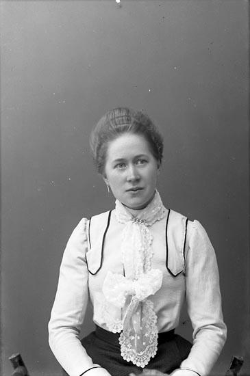 "Enligt fotografens journal nr 1 1904-1918: ""Rehnberg Valborg, Strandnorum St-d""."
