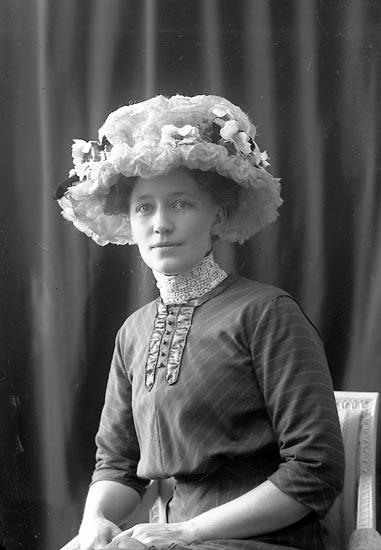 """Enligt fotografens journal nr 2 1909-1915: """"Blomkvist, Fru Hotellet Station"""". Enligt fotografens notering: """"Fru Hanna Blomkvist Hotellet Här""""."""
