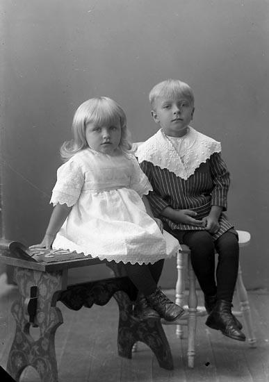 """Enligt fotografens journal nr 4 1918-1922: """"Tor och Rut Karlsson Här""""."""