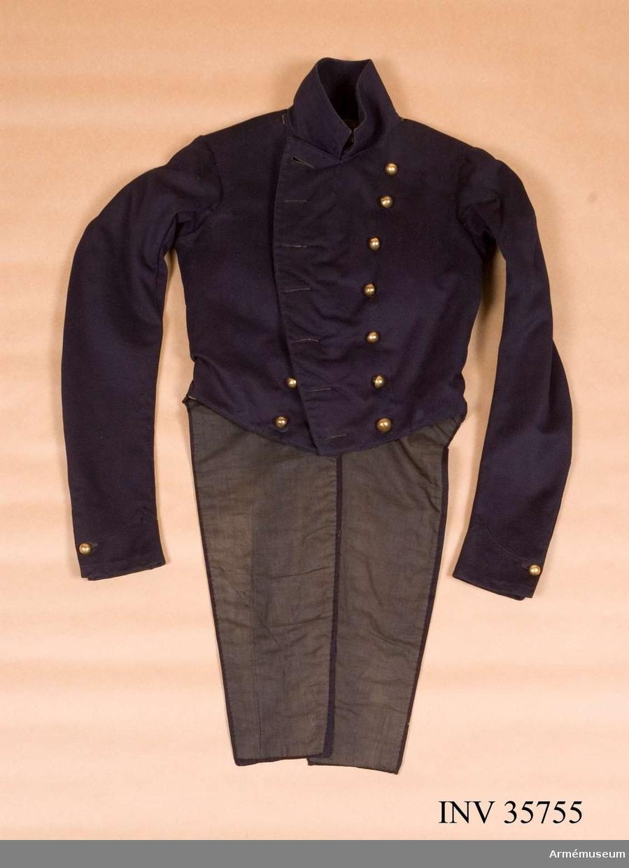 Grupp C I. Frack enligt arméns rulla 1835 - rulla 1849. Till salongsdräkt.