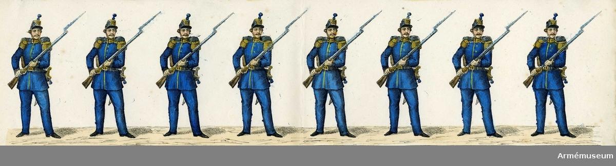 """Grupp M I. Kolorerad litografi föreställande """"Sappör"""". 4 st blad med 8 figurer vardera. H. Lederer i Stockholm (1860-69)."""