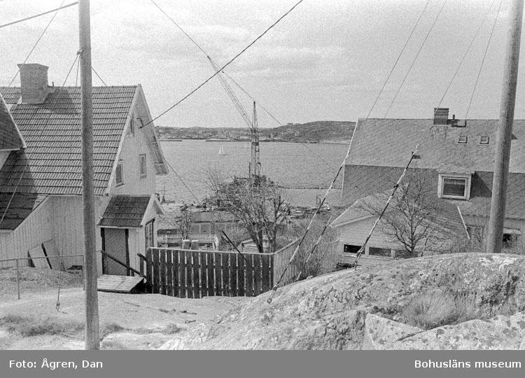"""Motivbeskrivning: """"Bebyggelse på Hälsö, utsikt över Hälsö mot Ö."""" Datum: 19800502"""
