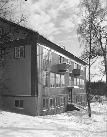 """Text till bilden:""""Skolan i vinterskrud och en lågt stående sol""""."""