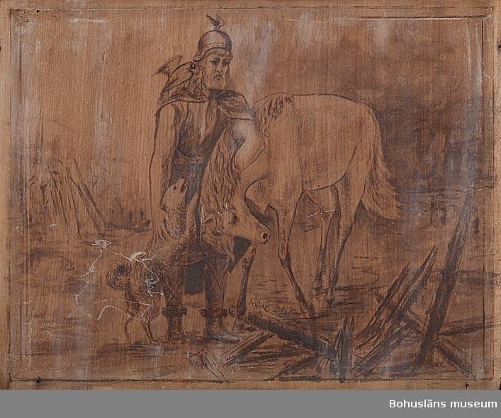Del av panel för inredning i Emaus jaktvilla, Uddevalla. Motiv ur Fritiofs saga: Man, häst, hund, duva.