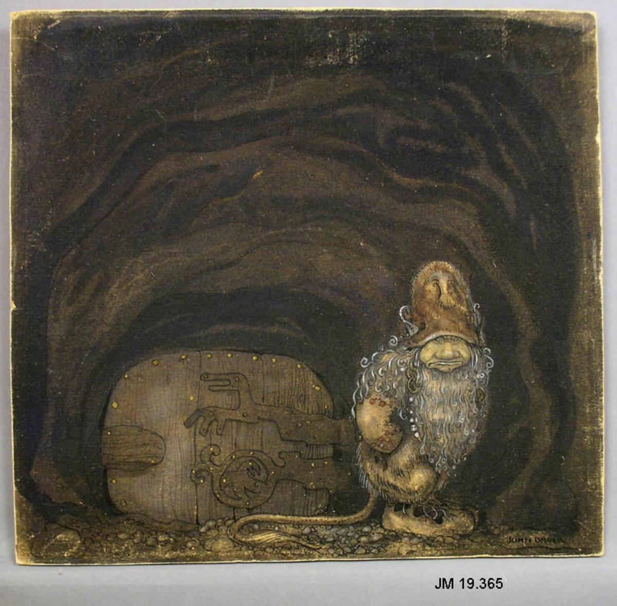 """Akvarellmålning med detaljer i gouache och tusch. Trollgubbe utanför en port. Brun och grå färgskala.  Verkets titel: """"Tvärare och vresigare till humöret blev han allt som tiden led""""."""