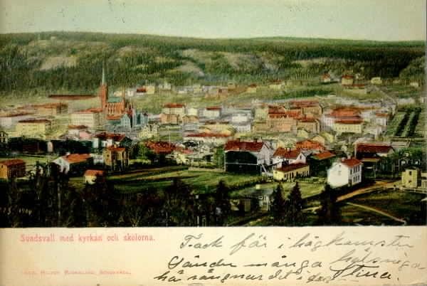 Vy över Sundsvall, kolorerat brevkort.