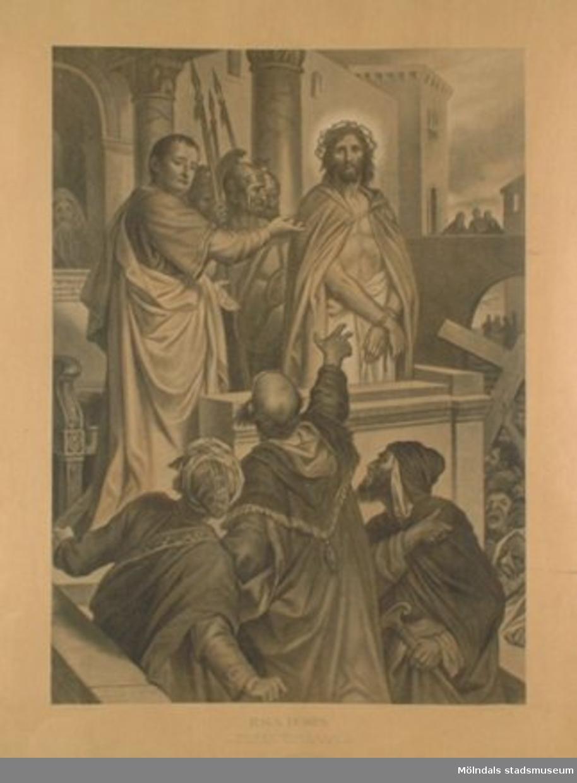 Kristendomskunskap.Jesus dömes. (Mark. 15:14).Konstnär: Heinr. Hofmann.Planschen är ej monterad på hård skiva.