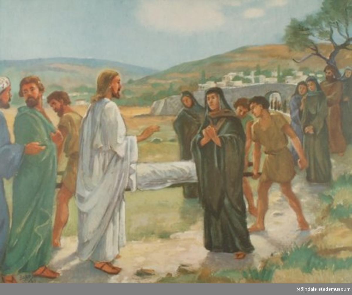 Kristendomskunskap.Jesus uppväcker änkans son i Nain. (Luk. 7:11-17).Konstnär: Örbo, 1947.Tryckt 1949 av Victor Petterssons bokindustri AB, Stockholm.