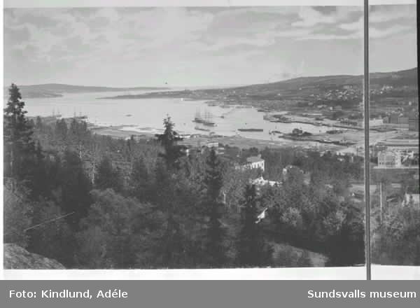 Vy från Norra stadsberget över Sundsvall, 1895
