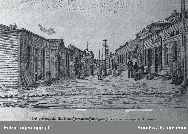 """Bildtext till bild""""Det provisoriska Sundsvalls förnämsta affärsgata,(Bazargatan,Autotypi för jultomten).""""Enligt Höglund Sjögatsesplanaden."""
