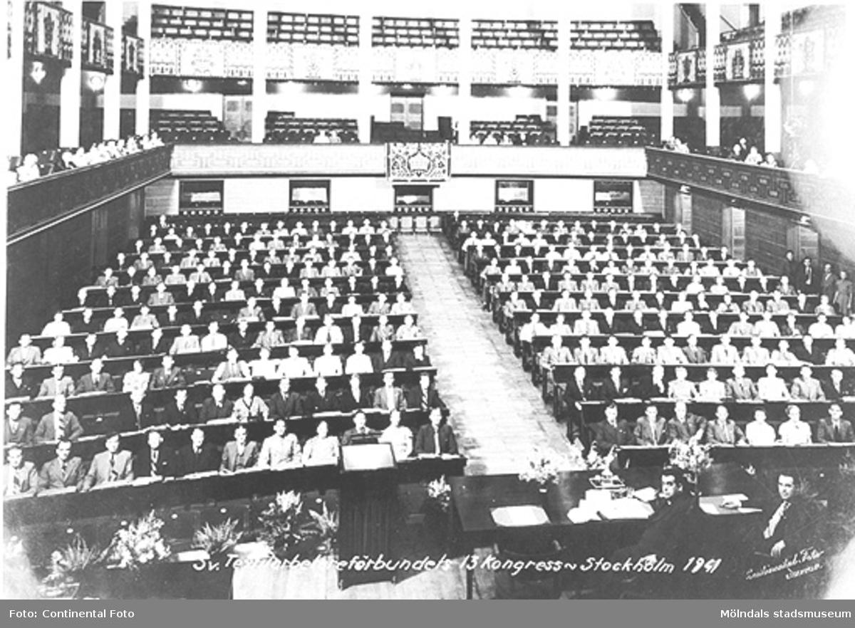 Textilarbetareförbundets 13:e kongress på Konserthuset i Stockholm,  år 1941.