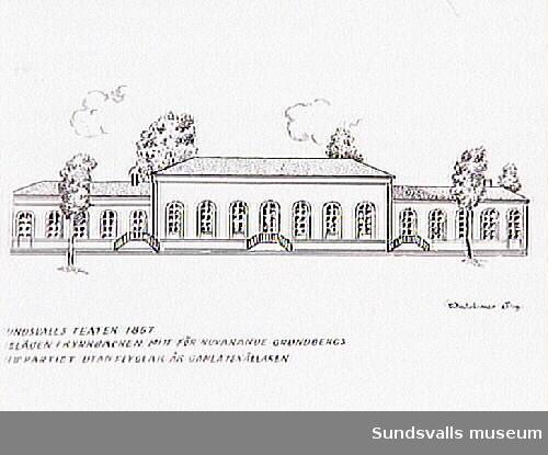 """Teckning av Waldemar Sandström som visar """"Sundsvalls Teater 1857. Belägen i Kyrkbacken, mitt för nuvarande Grundbergs. Mittpartiet utan flyglar är gamla iskällaren."""""""