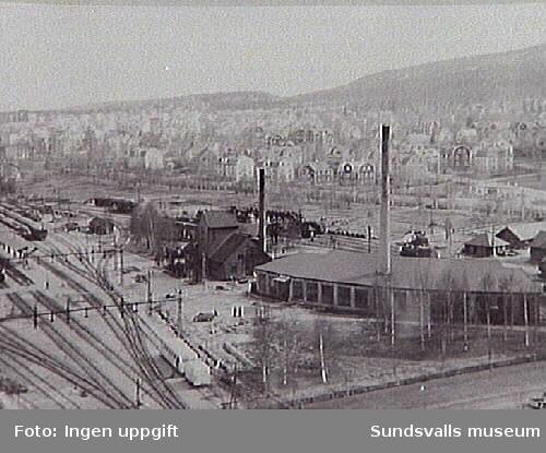 Ur Energiverkets samling.Järnvägsverkstäderna, bangården och Östermalm 1940 ca.