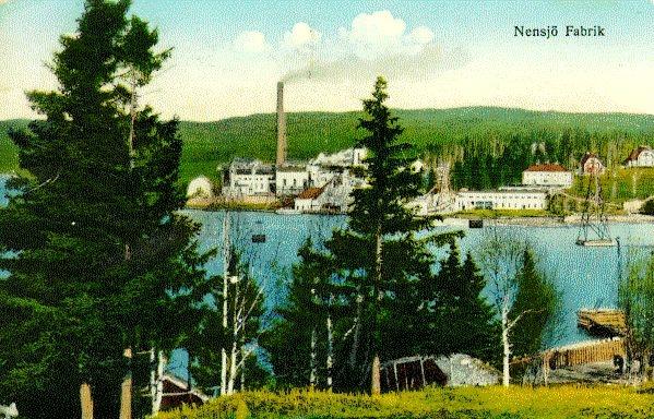 Nensjö Cellulosa AB, anlagd 1914-1915, övergick till SCA 1951, nedlagd 1964. Kolorerad bild.