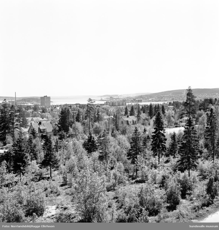 Skönsberg med höghuset och Gilleberget fotograferat från Hagaskolans tak och ut mot fjärden.
