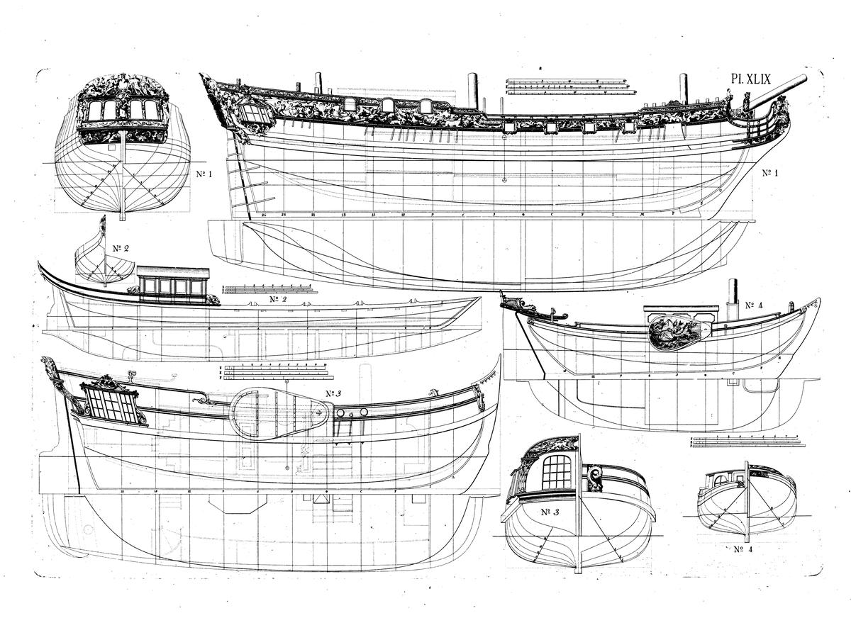 Lustjakt för kungen av England. Linjeritningar med ornamentering, spantrutor med akterspegelsornament