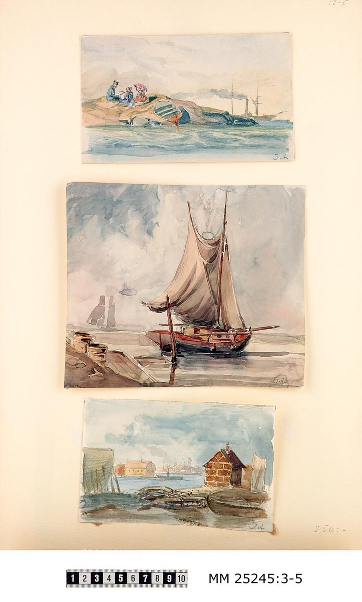 """Akvarell föreställande hamn. Båt uppstöttad på land till vänster i bild, liten tegelbyggnad till höger i bild, hav i mitten med mindre ångbåt, gul byggnad samt stadsvy i bakgrunden med vindmöllor. Bilden signerad i högre hörn: """"JA""""."""