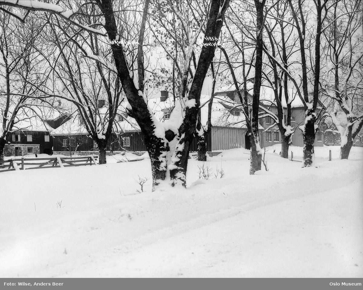 Vestre Voksen gård, bolighus, uthus, hage, snø