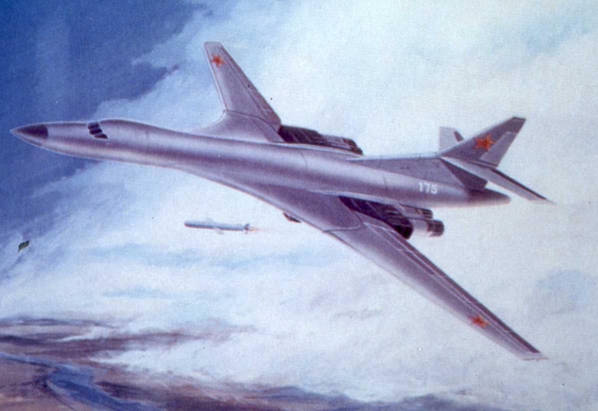 Russisk fly av typen Blackjack med nr. 175. En rakett er blitt avfyrt.